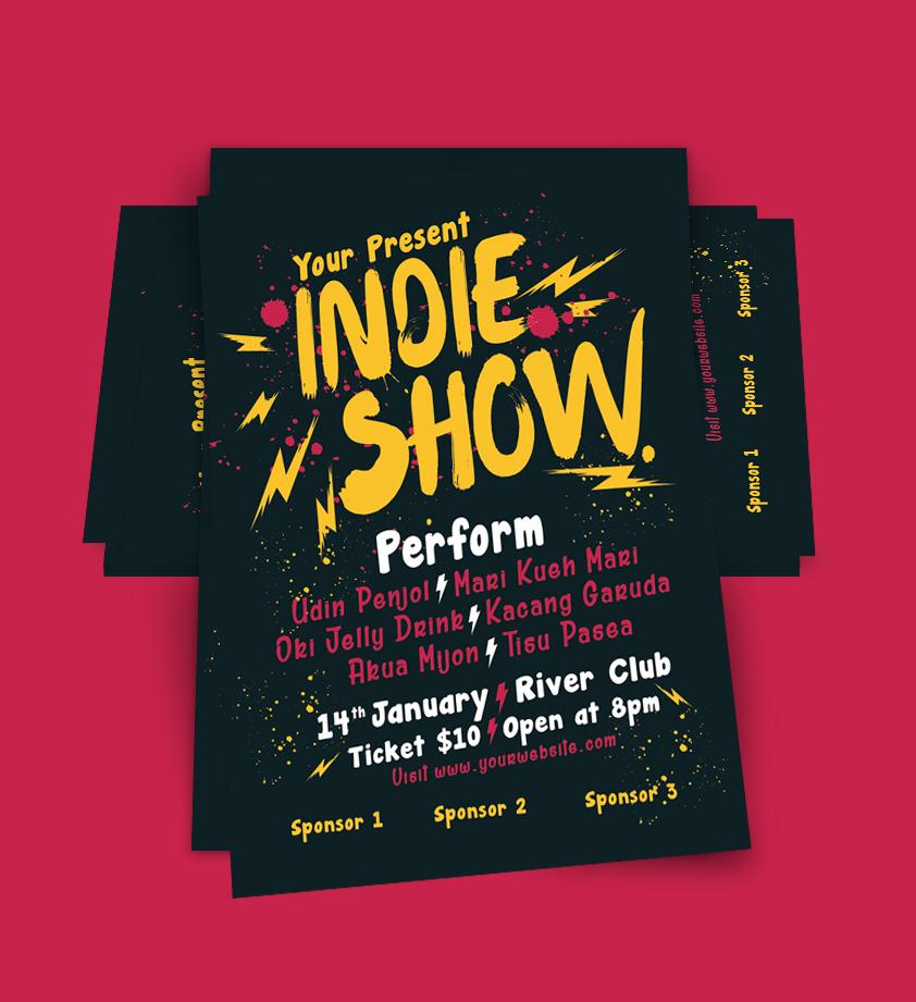 Indie Show Concert Flyer By Muhamadiqba  Design Bundles