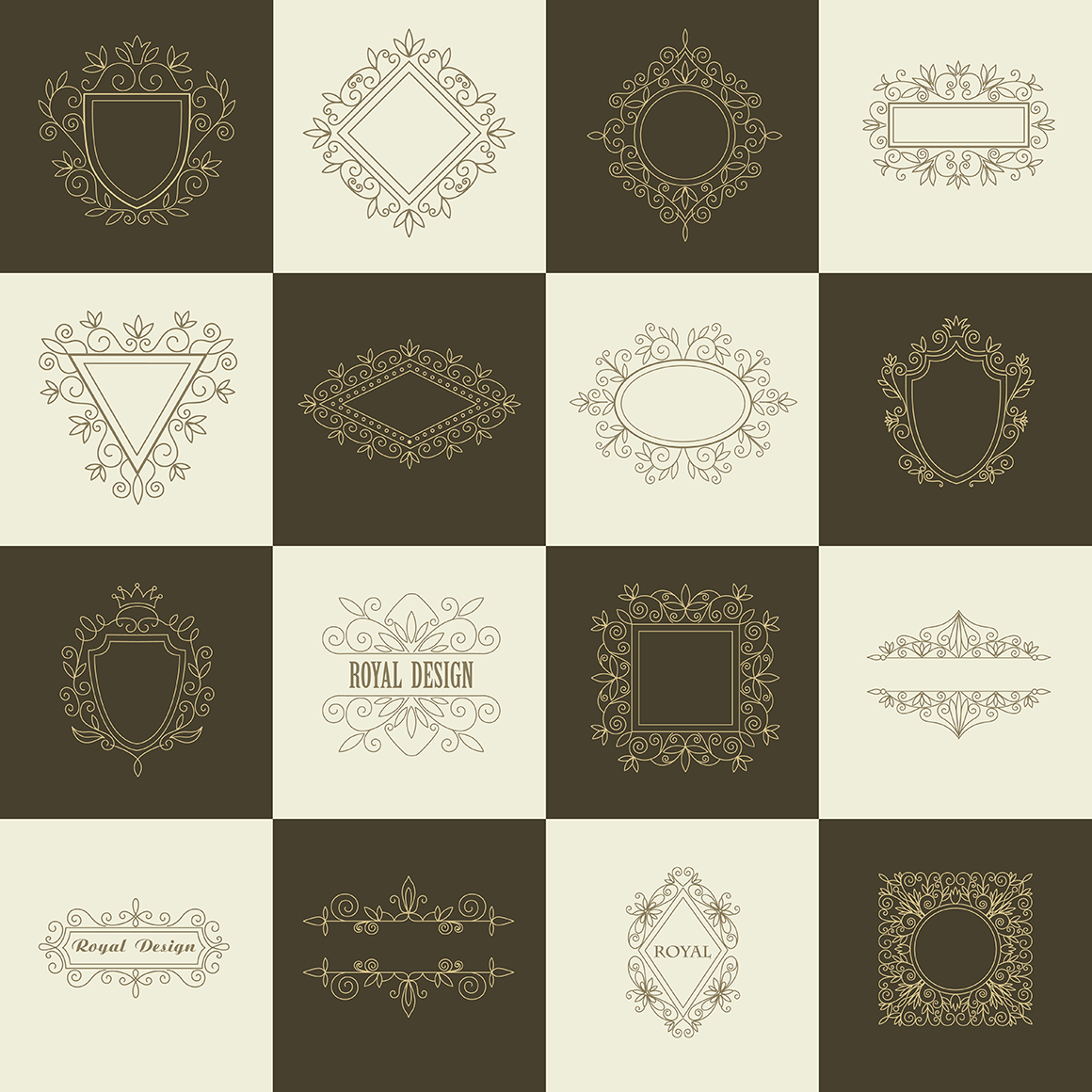 Set of vintage frames and monograms example image 10