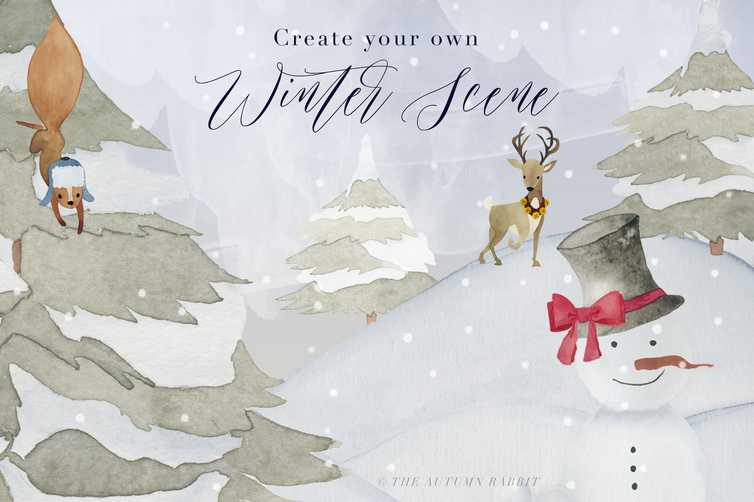 Watercolor Winter Scene Creator example image 7