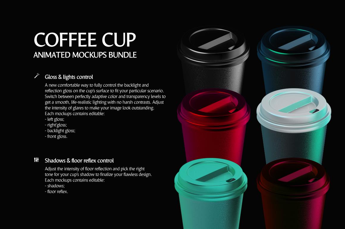 Coffee Cup Animated Mockups Bundle (Coffe mug mock up, cofee cup mockup, tea take away cup mock-up) example image 7