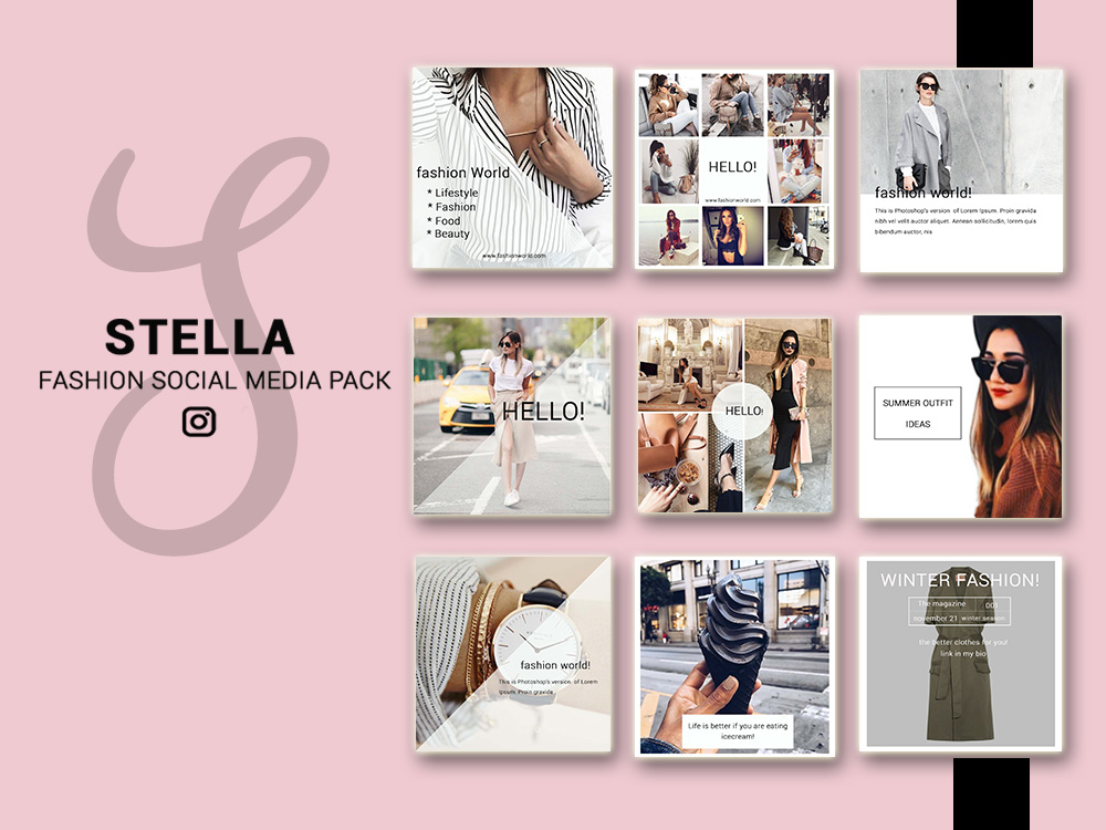 Fashion social media pack social media design bundles fashion social media pack social media bundle 20 square social media templates instagram maxwellsz