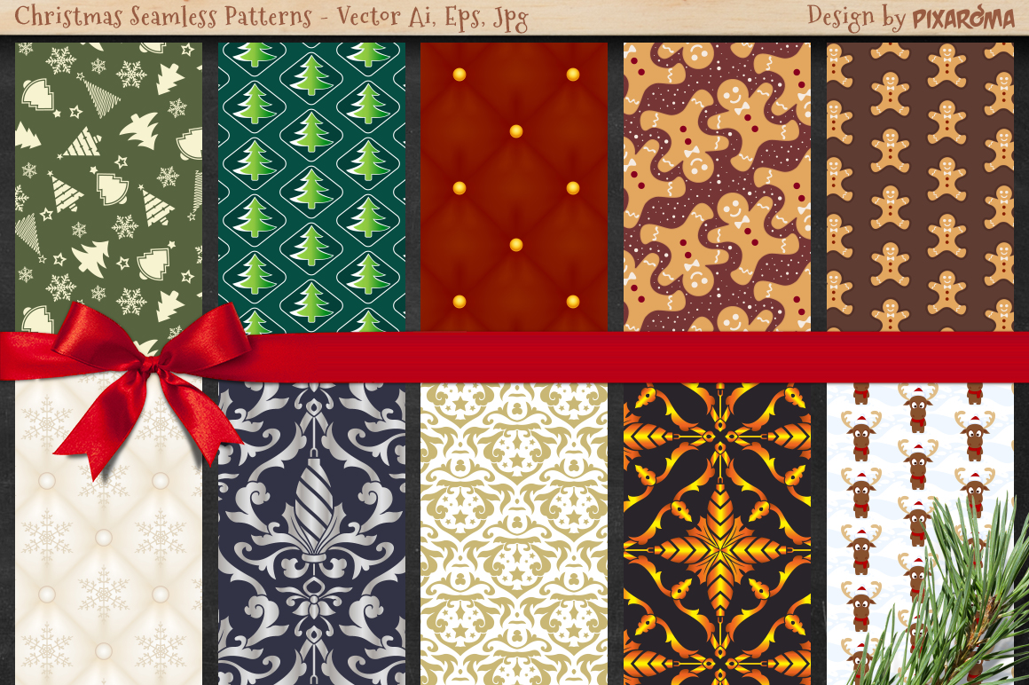50 Christmas Seamless Patterns example image 4