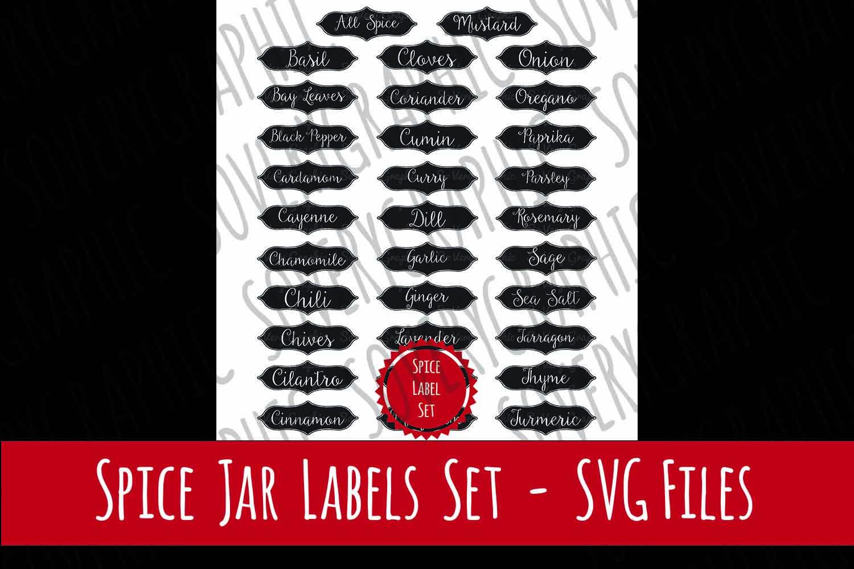 Vintage Spice Jar Label Set of 32 | SVG Cutting Files example image 1