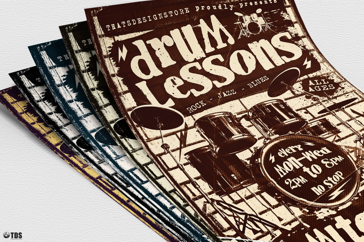 Drum Lessons Flyer Template V1 example image 6