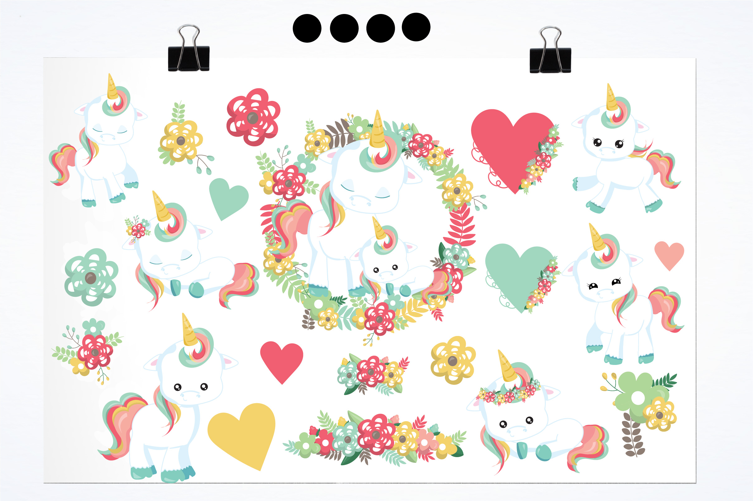 Floral unicorn graphics and illustrations example image 2