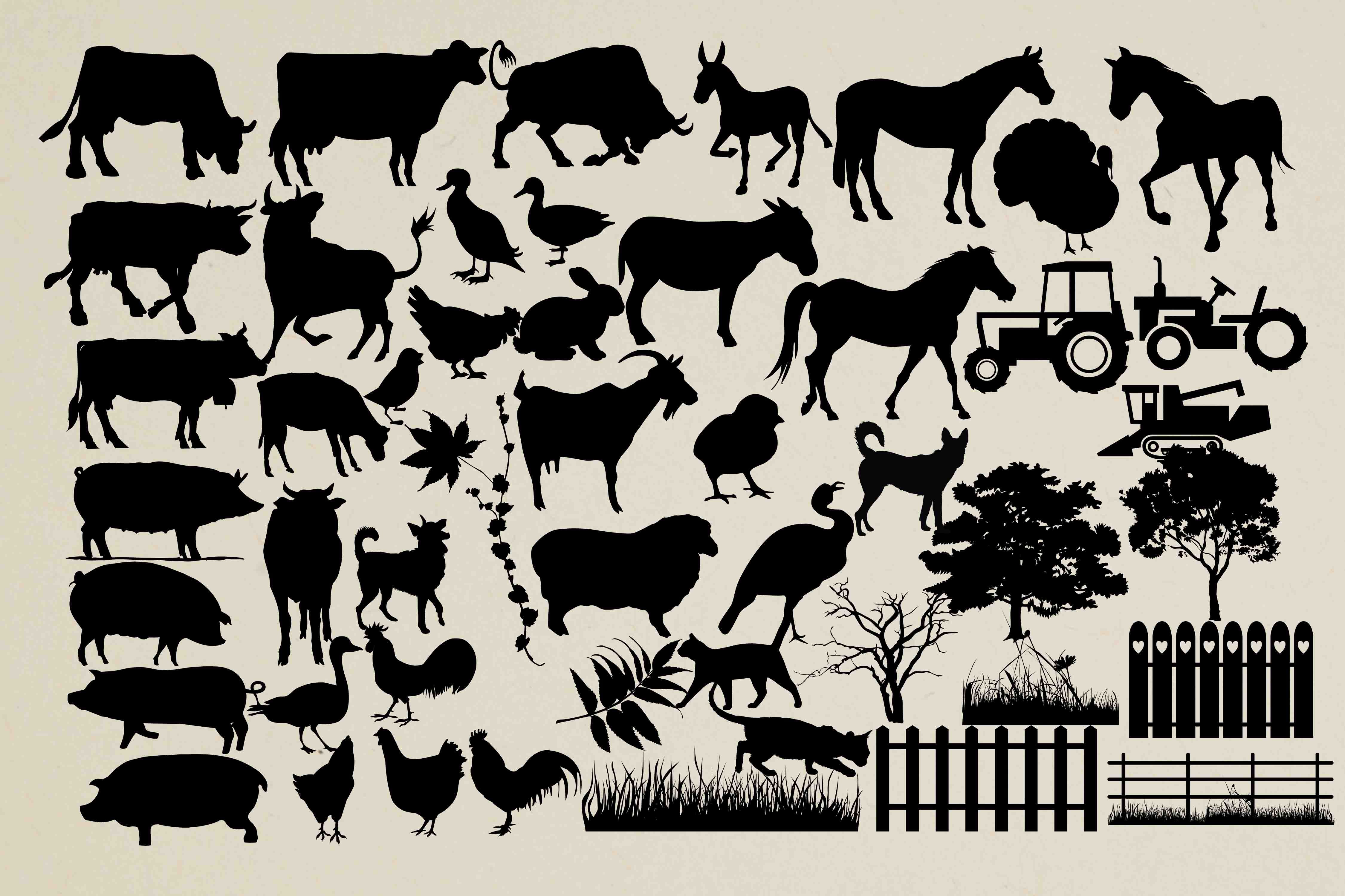 Farm animal silhouette PNG SVG EPS DXF example image 1