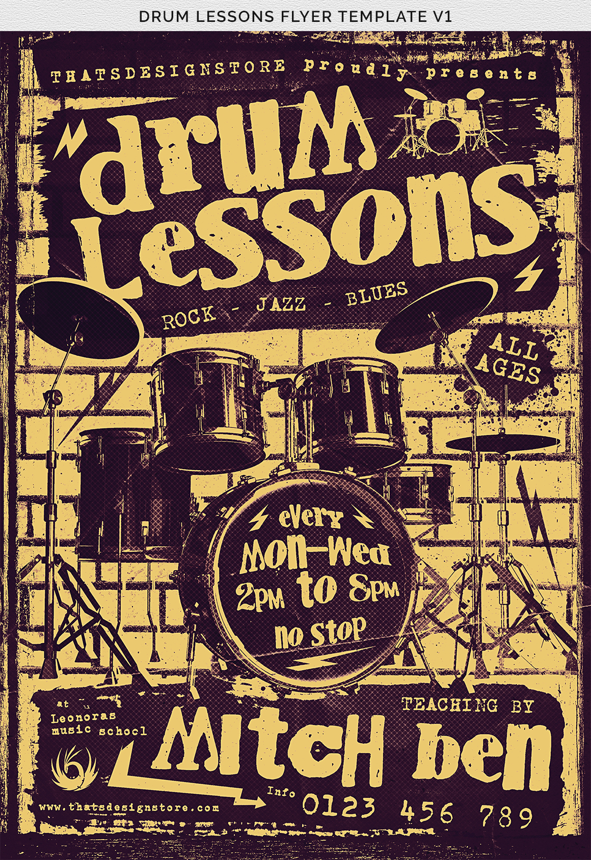 Drum Lessons Flyer Template V1 example image 9
