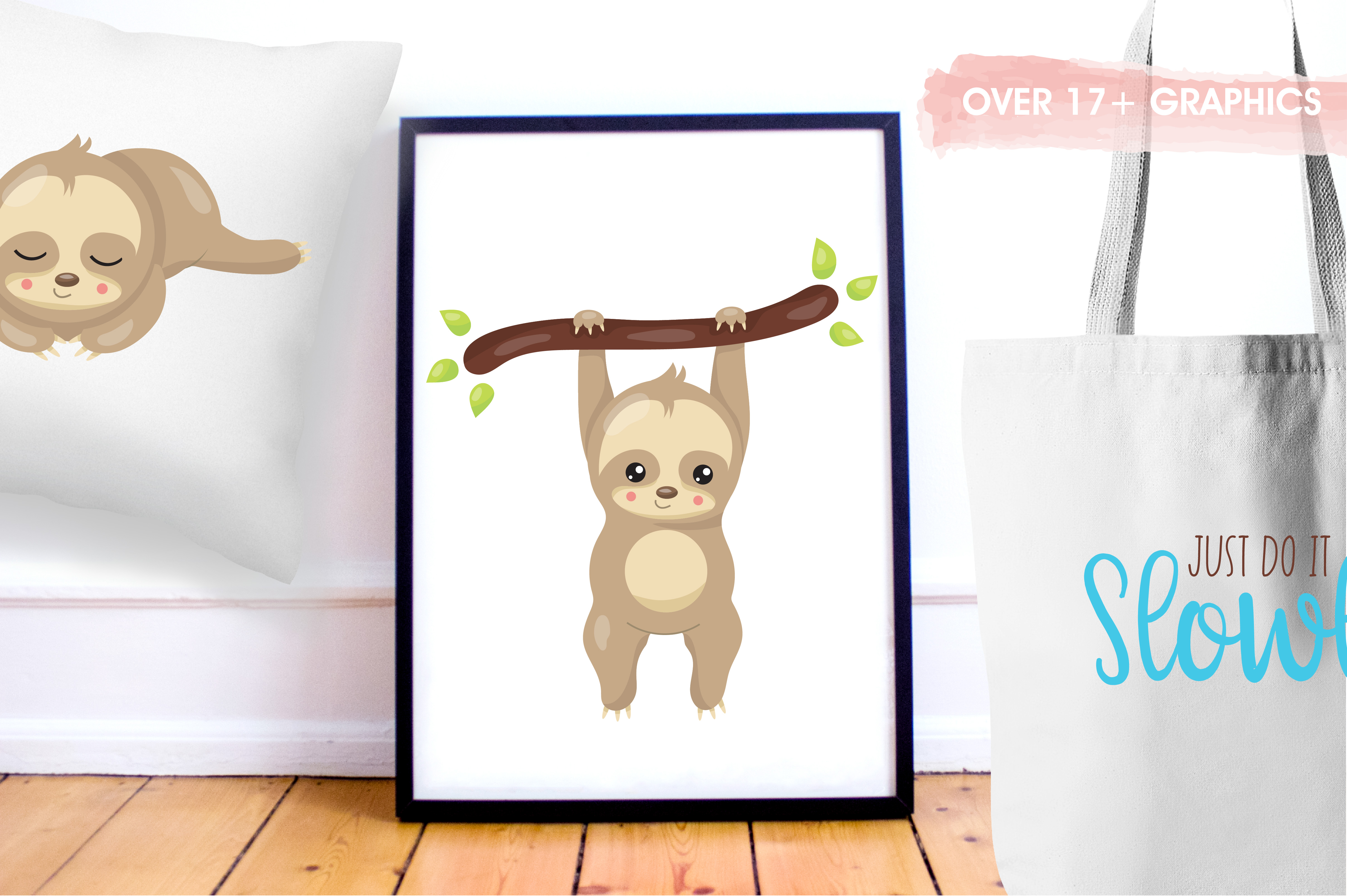 Sleepy sloth graphics and illustrations example image 5