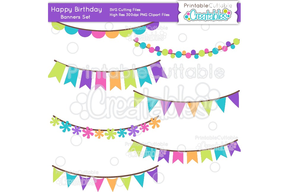Birthday Banners SVG Cut File & Clipart