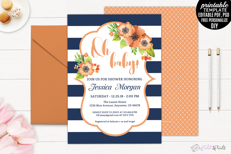 Navy and Orange Watercolor Orange Flowe | Design Bundles