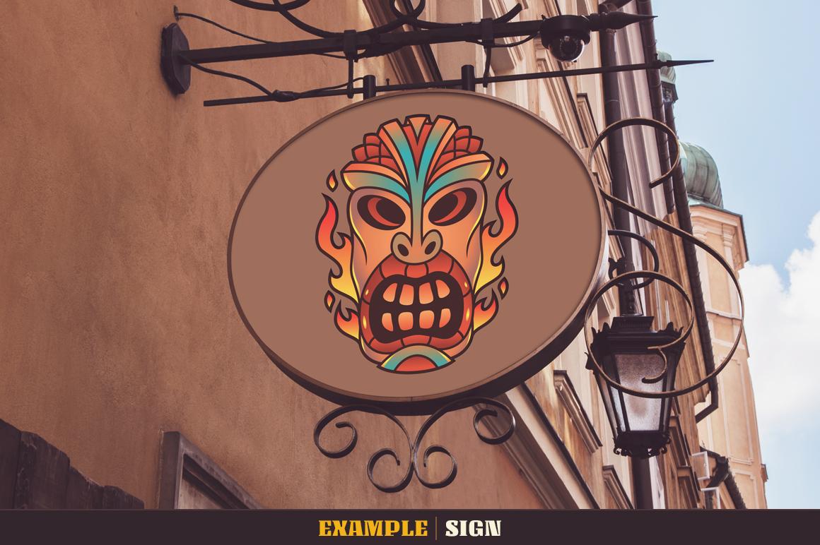 Tiki Head Illustrations Set example image 12