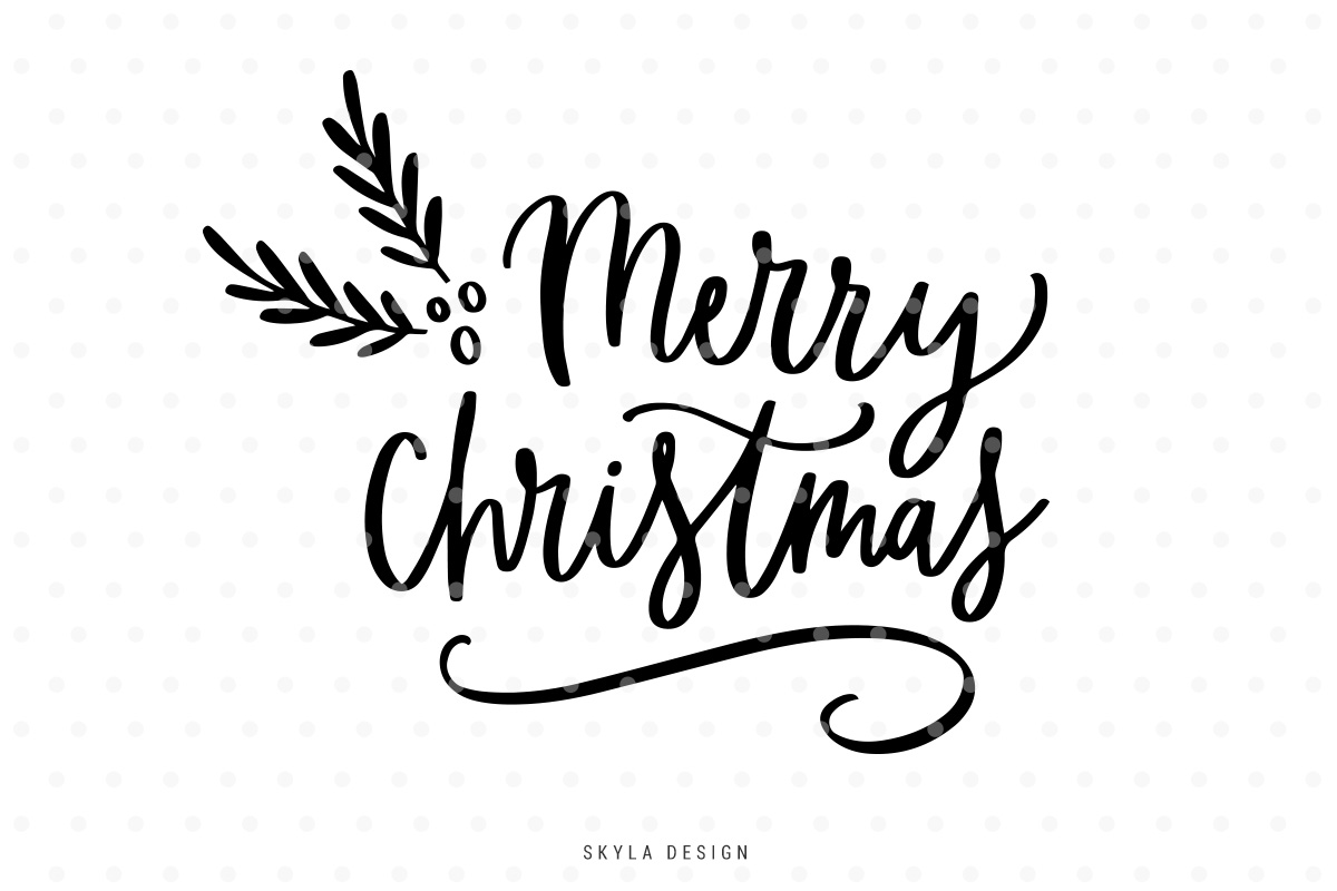 Merry Christmas Svg Hand Lettered Quote Design Bundles