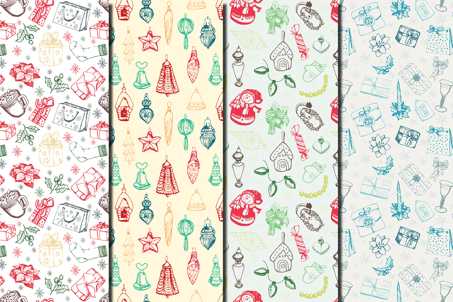 Christmas Hand drawn seamless digital paper pack example image 4