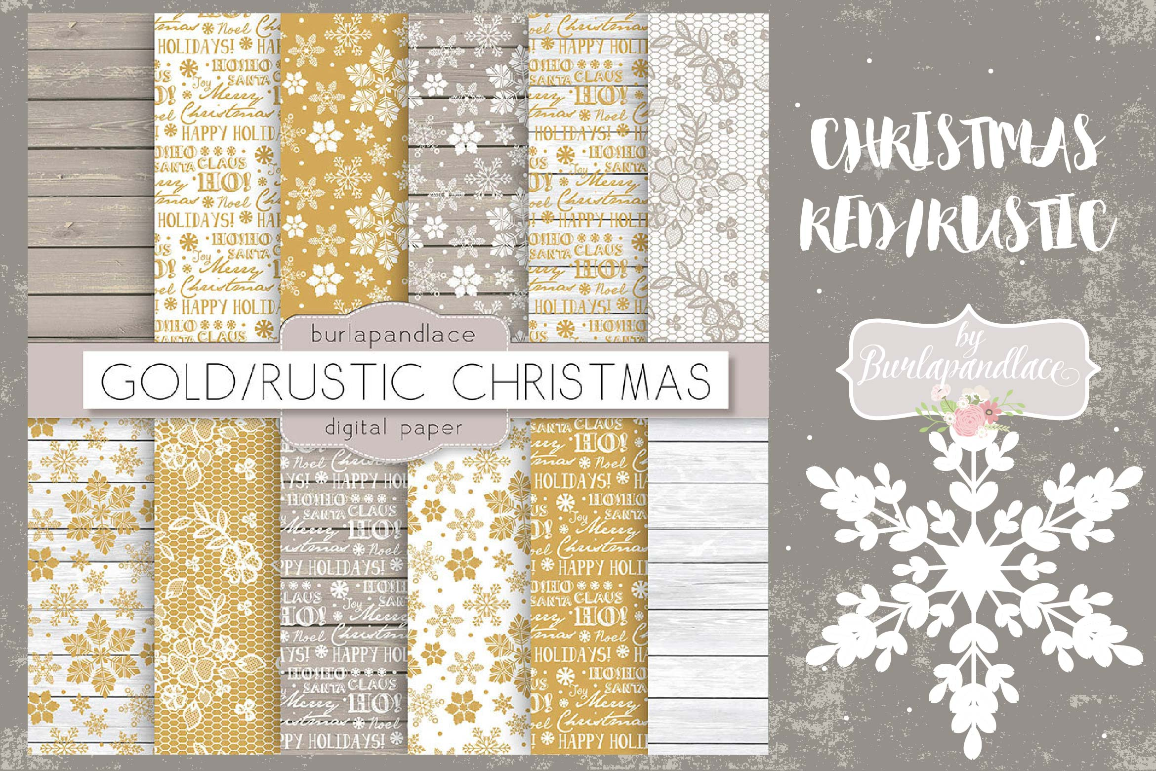 Christmas gold rustic digital paper pack example image 1
