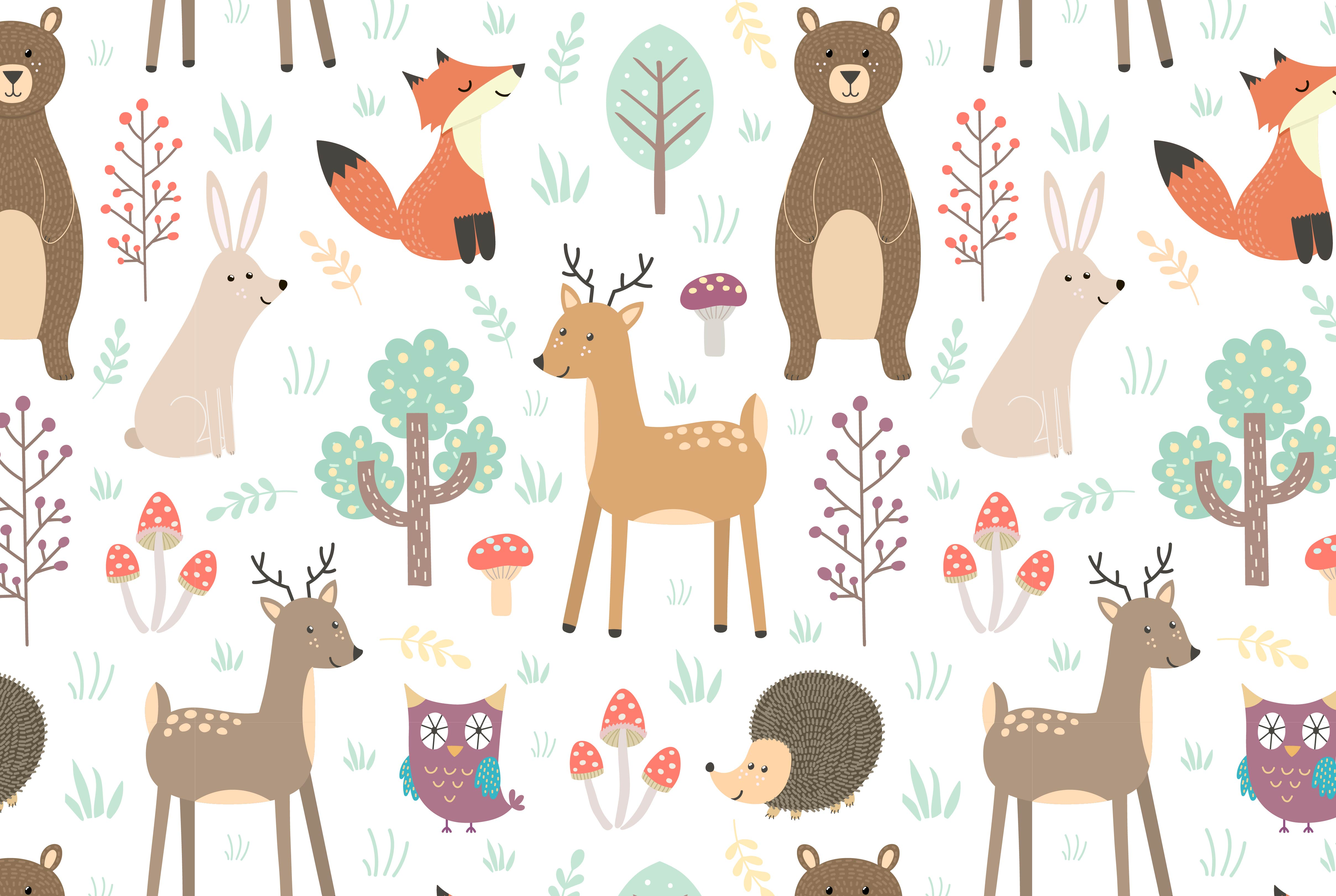 Forest: seamless pattern & elements example image 2