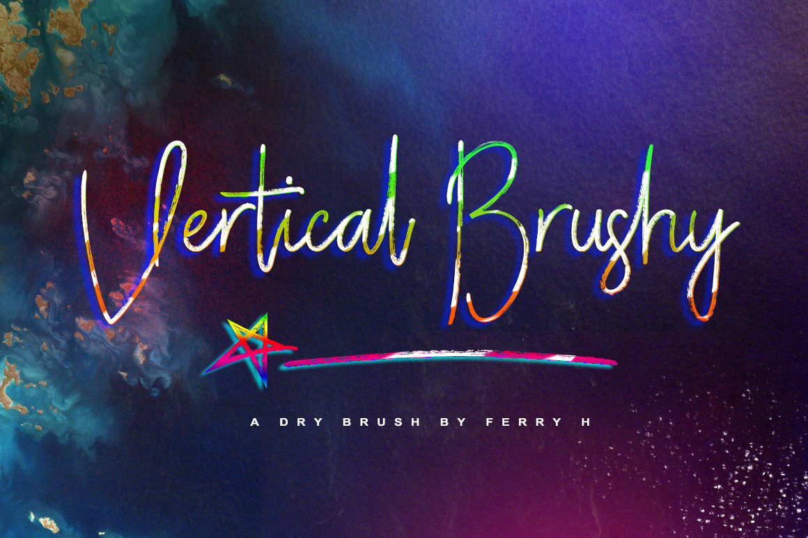 Vertical Brushy - Dry Brush Typeface example image 1