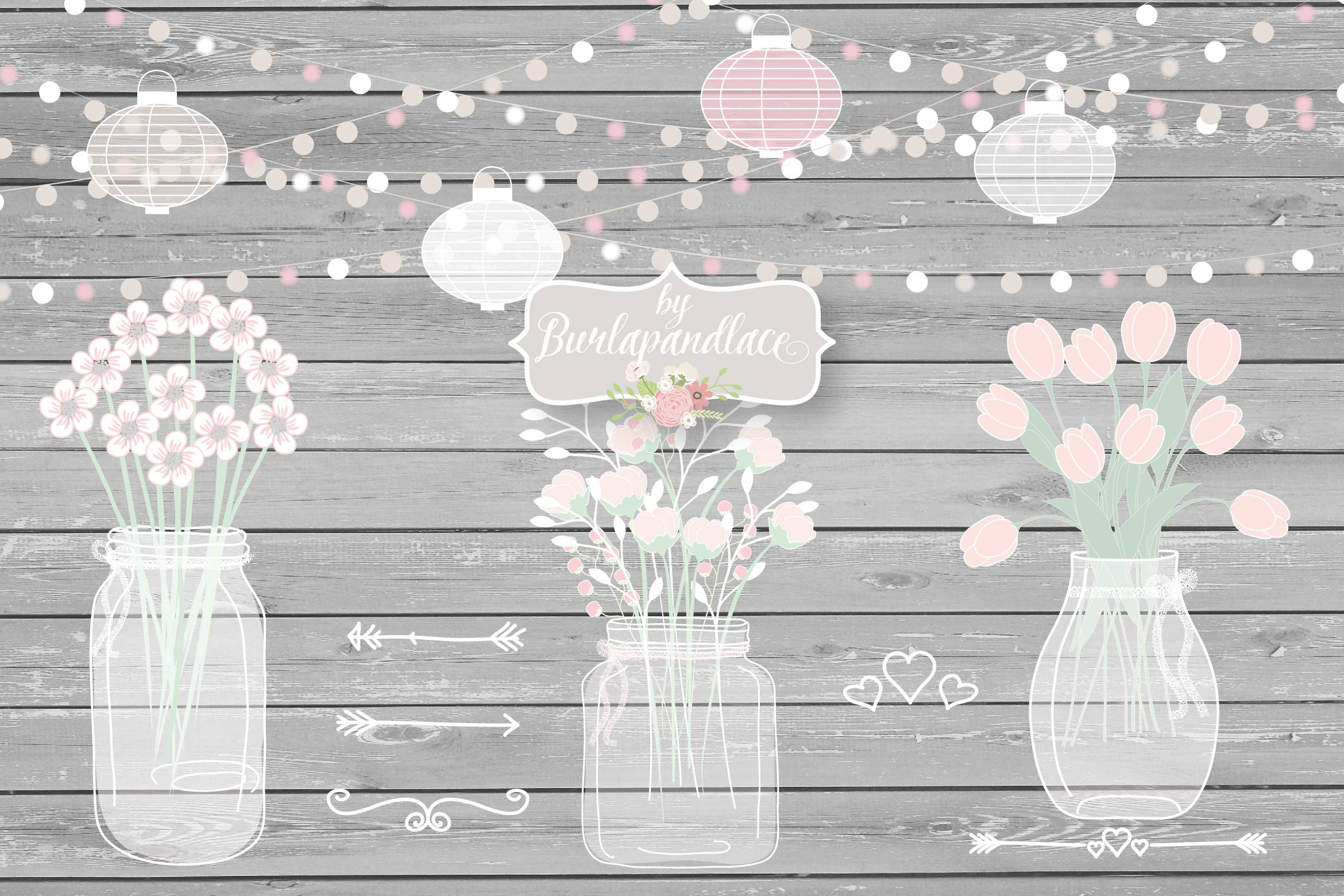 Vector Mason Jar Wedding Invitation clipart example image 1