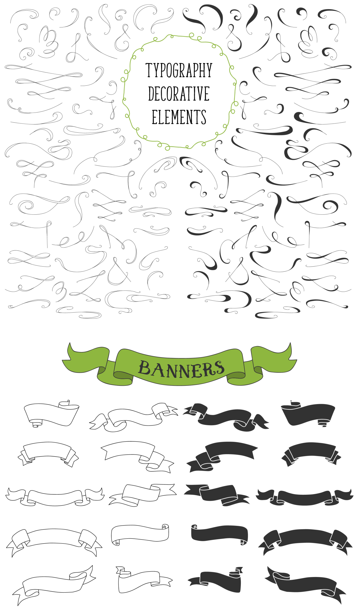 450 handsketched elements. Nature mega pack example image 4