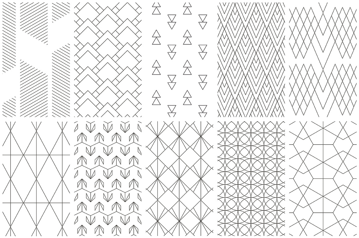Geometric Line Design Patterns : Simple line geometric patterns by youan design bundles