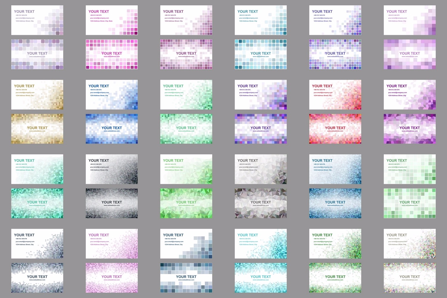 50x2 mosaic design business card templates (EPS, AI, JPG 5000x5000) example image 3