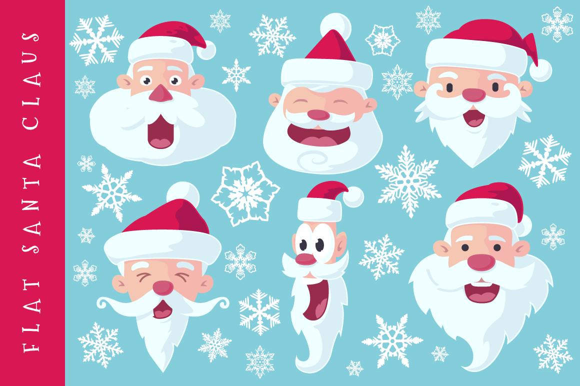 Flat Santa Claus Heads - Vector example image 1