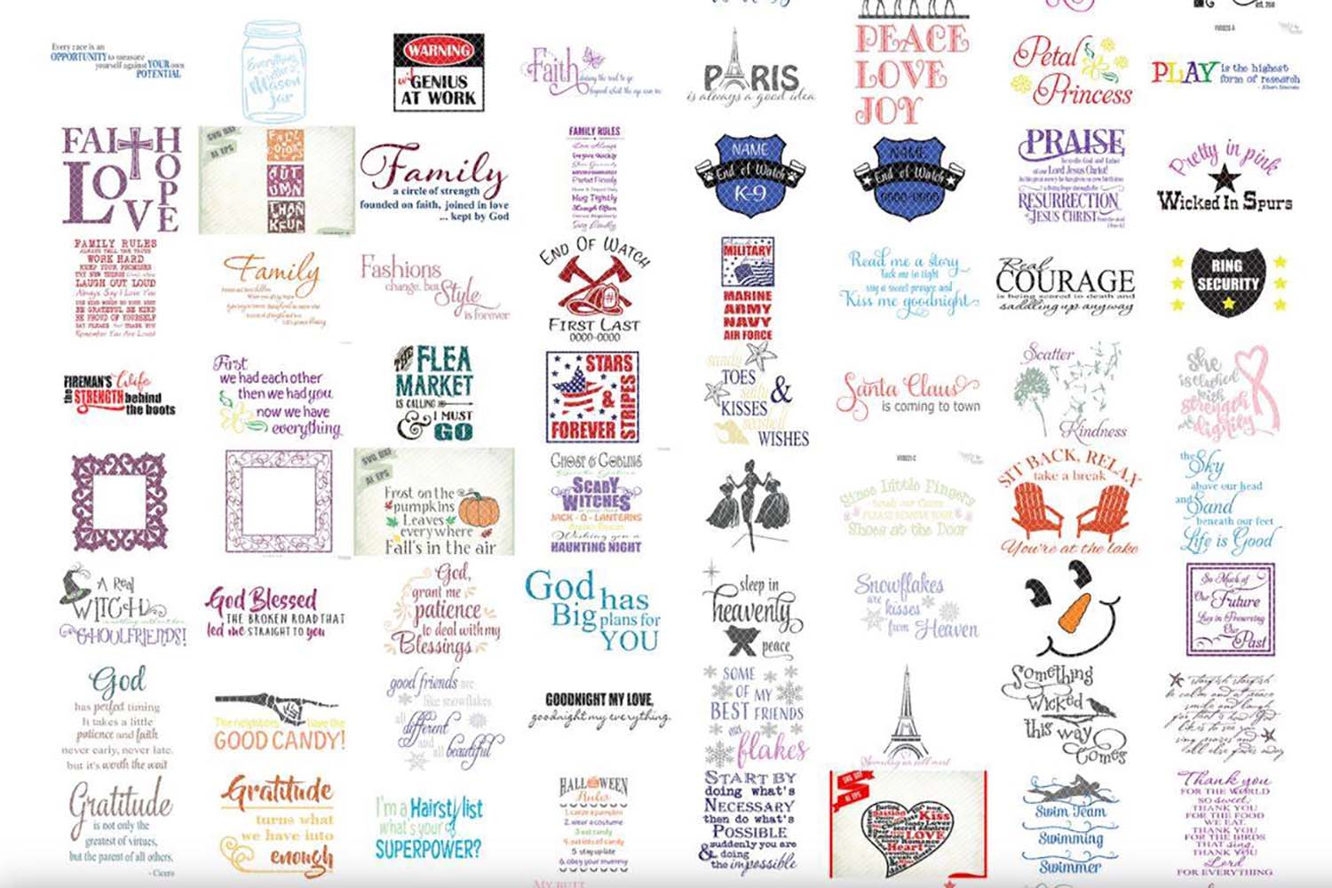 Vinyl & Vectors bundle of 275 Commercial use of SVG, DXF, EPS and Ai designs for Cricut and Silhouette cutting machines example image 2