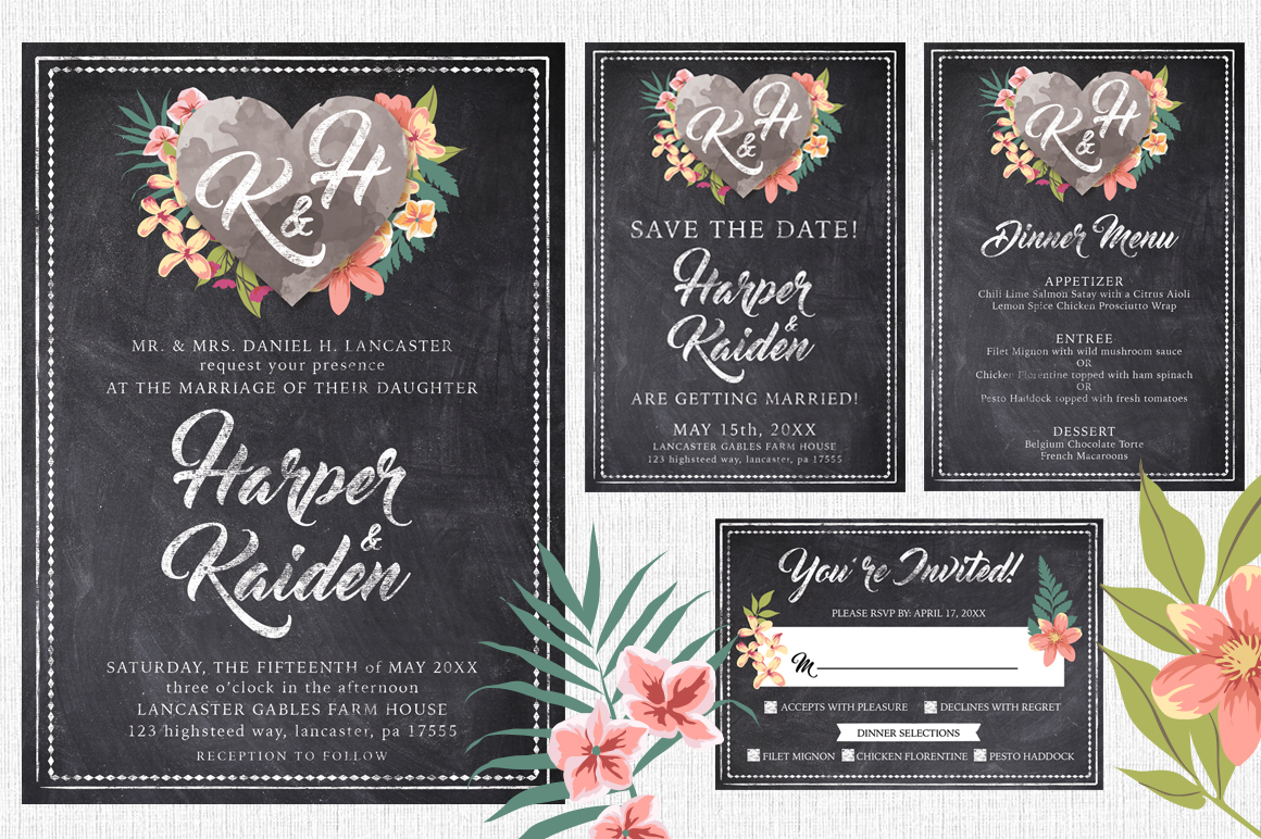 Massive Wedding Invite Bundle Flyer Save the Date Bridal Shower Party 60% Off example image 12