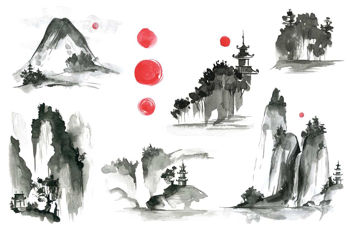 Sumi-e. Japanese ink painting example image 3