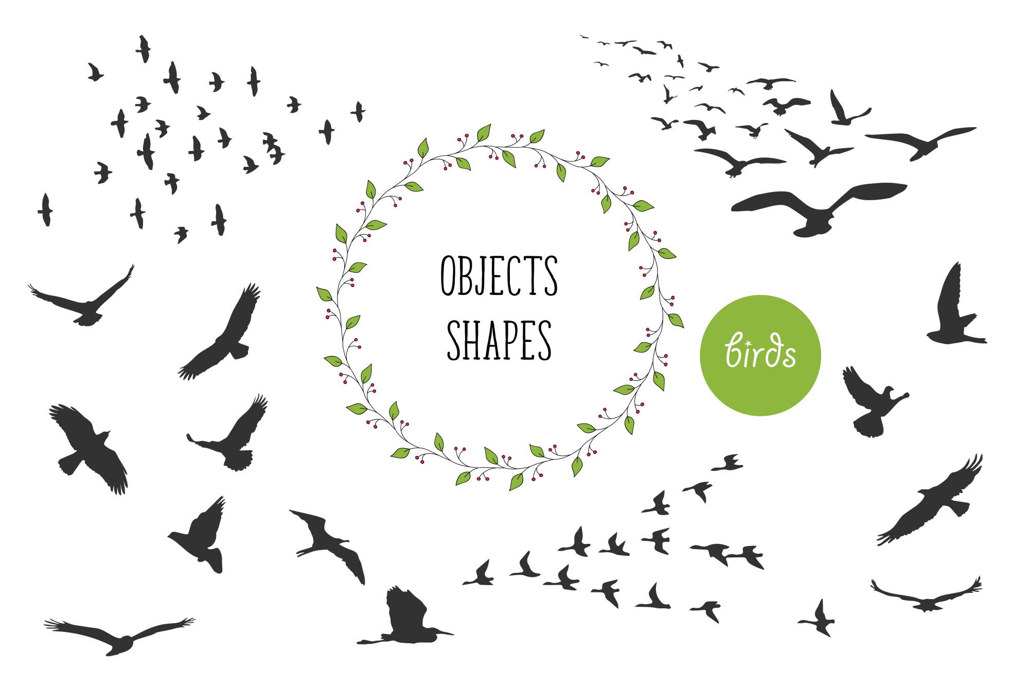 450 handsketched elements. Nature mega pack example image 10