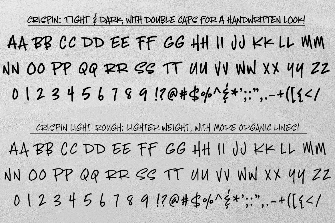 Crispin: regular and light rough alphabets