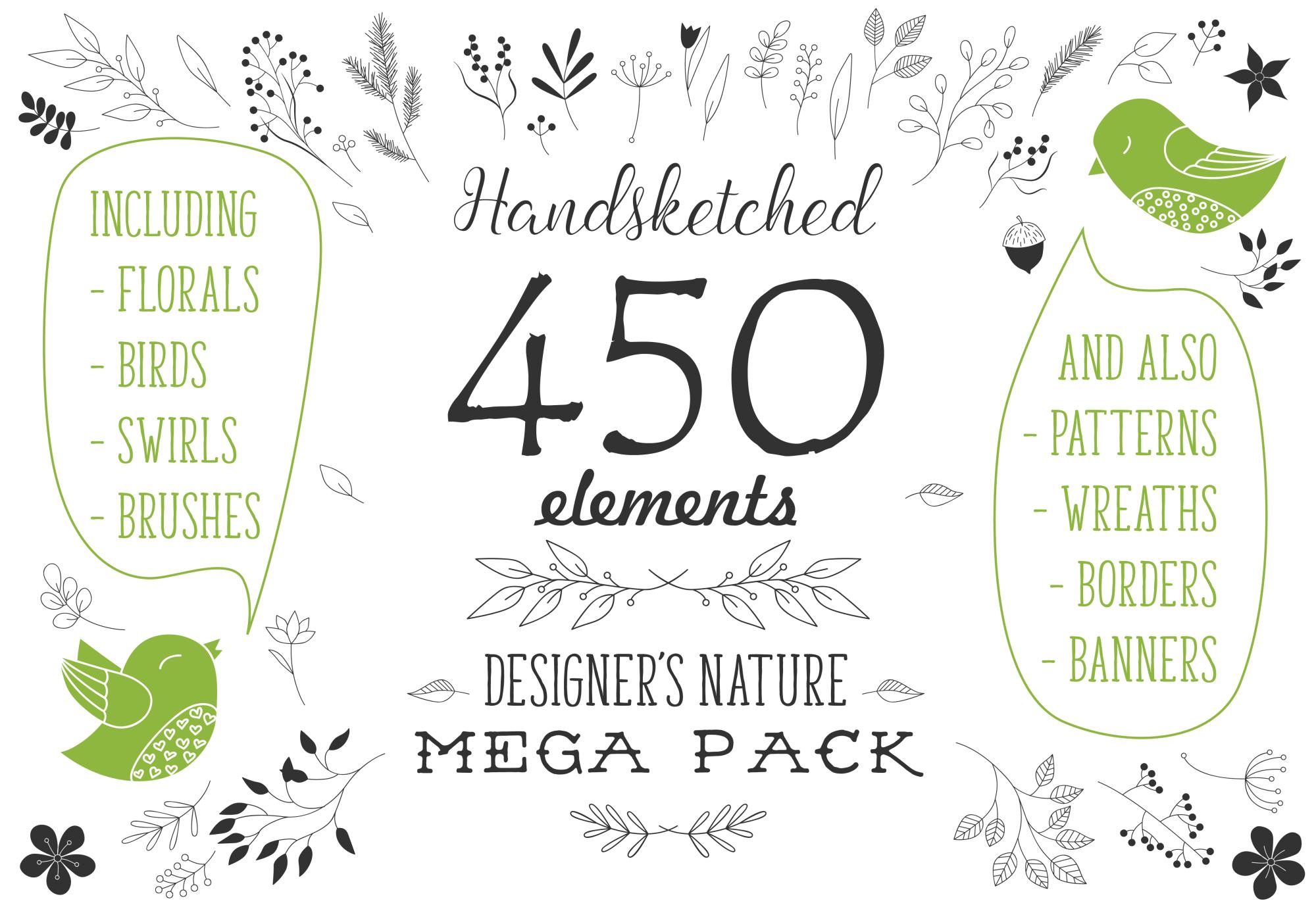 450 handsketched elements. Nature mega pack example image 1