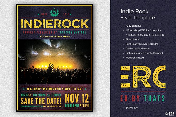Indie Rock Flyer Template By Tdstore Design Bundles