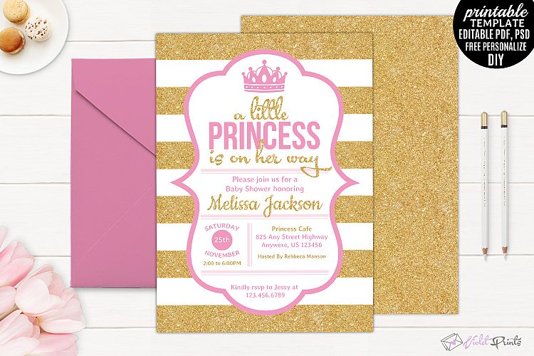 viewing product printable little princess on her way baby shower invitation template