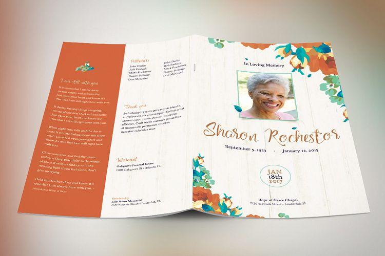Autumn Floral Funeral Program Template  Design Bundles