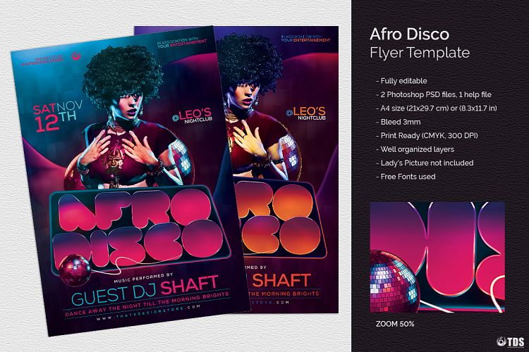 Afro Disco Flyer Template By Tdstore  Design Bundles