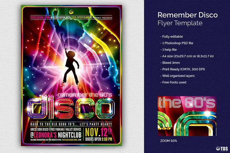 Remember Disco Flyer Template By Tdstore  Design Bundles
