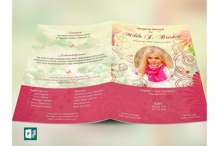 Memory Funeral Program Publisher Templa | Design Bundles