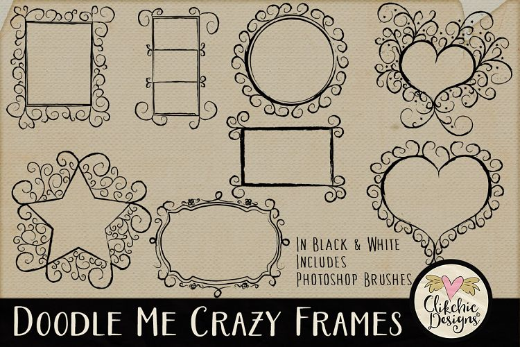 Doodle Me Crazy Frames & Photoshop Brus | Design Bundles