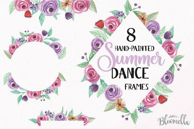 Summer Dance Frames Watercolor Purple P | Design Bundles
