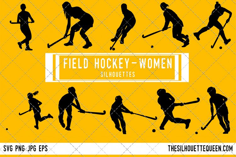 Woman Field hockey Player silhouette, F | Design Bundles