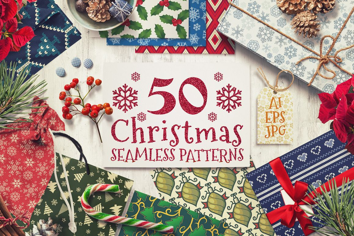 50 Christmas Seamless Patterns example image