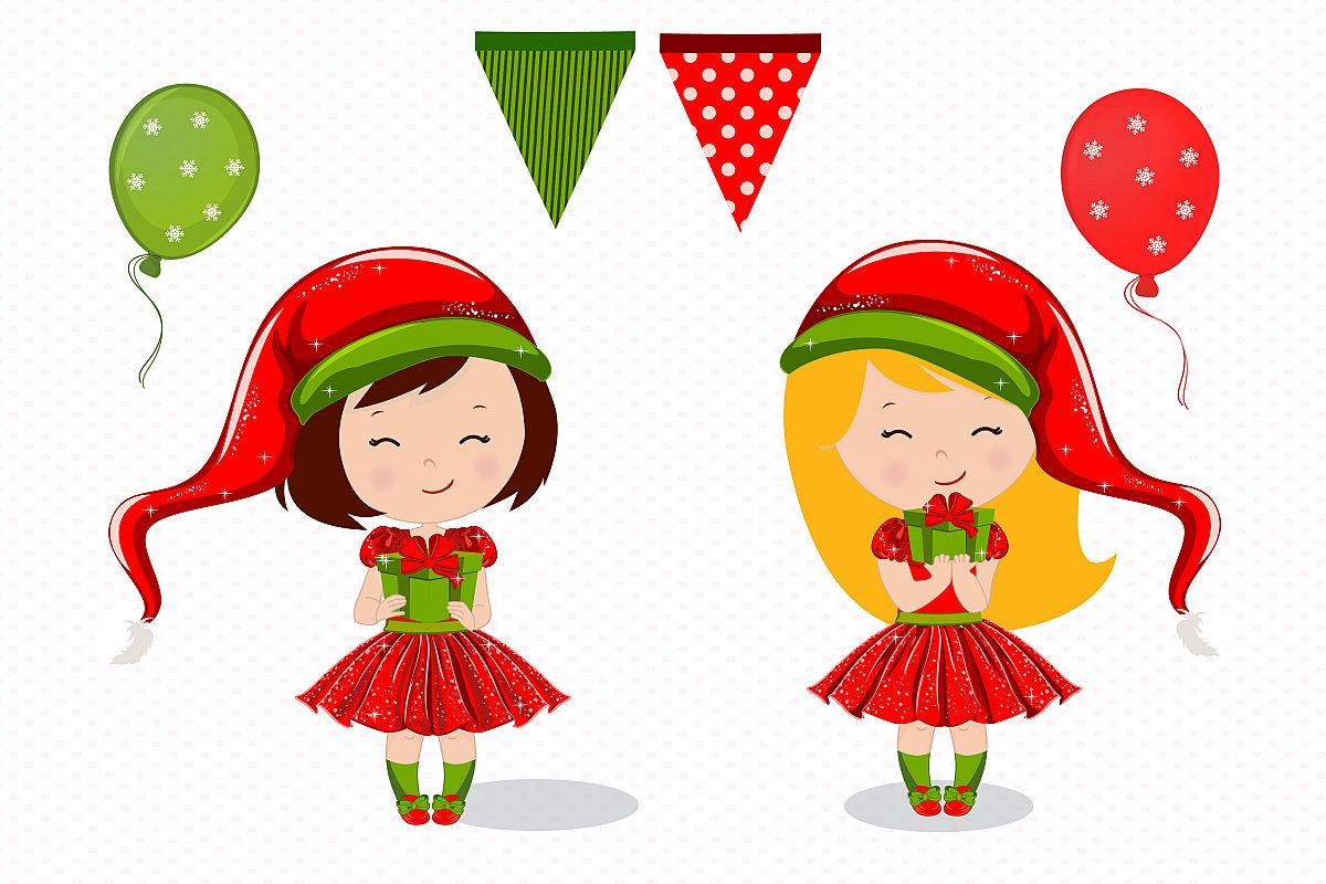 Christmas girl illustration, Christmas digital papers example image 3