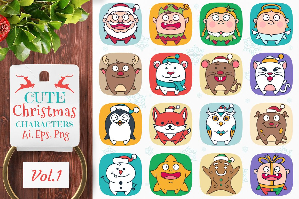 Cute Flat Christmas Characters Vol.1 example image