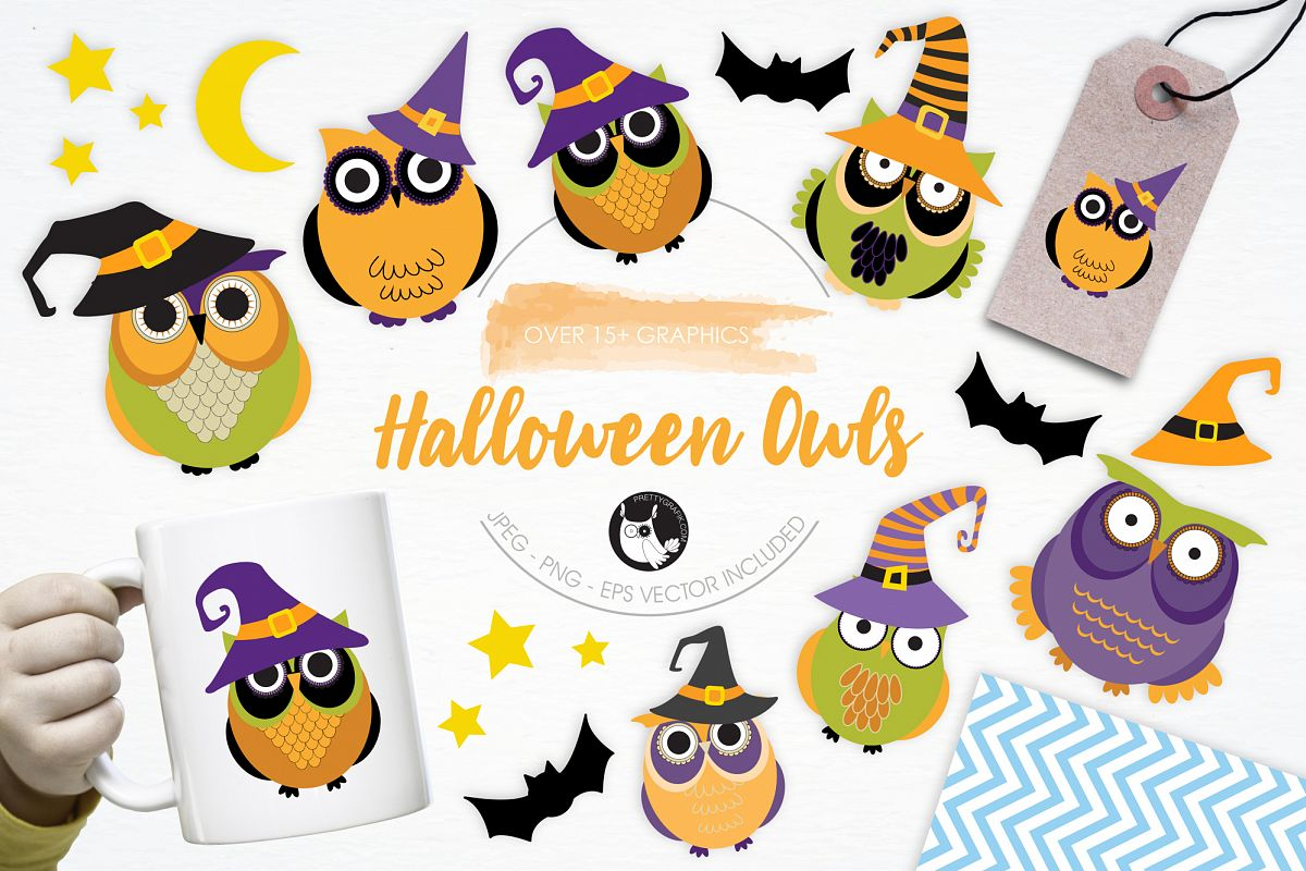 Halloween Owls graphics and illustrations example image