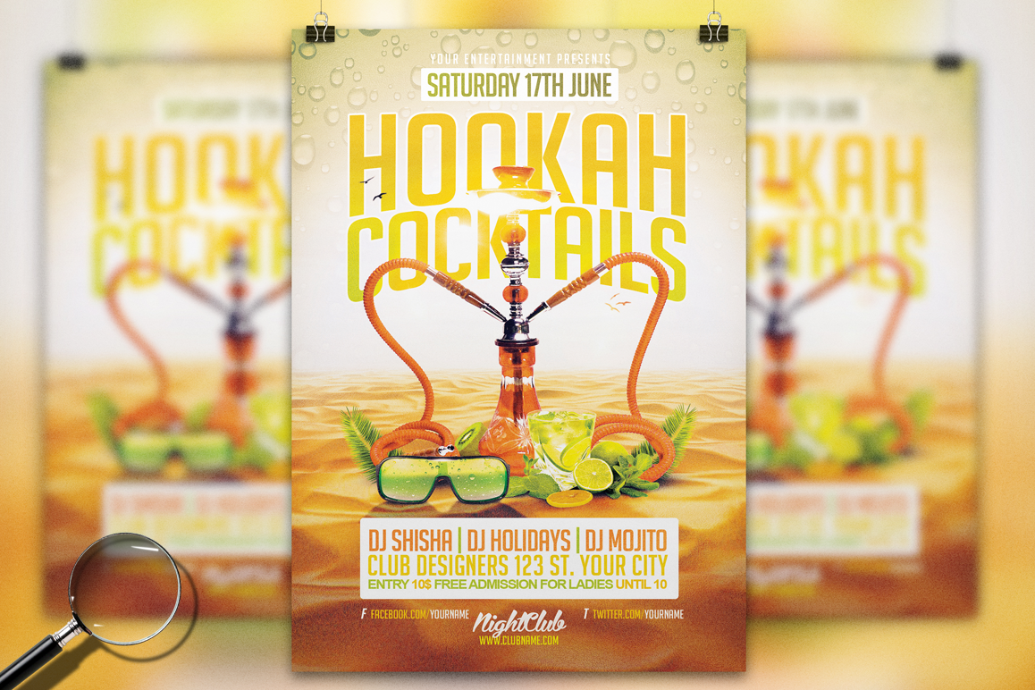 Hookah cocktails summer flyer templat design bundles hookah cocktails summer flyer template example image saigontimesfo