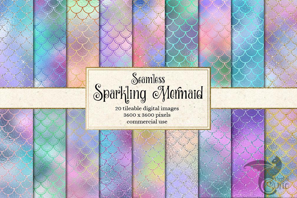 Sparkling Mermaid Digital Paper example image