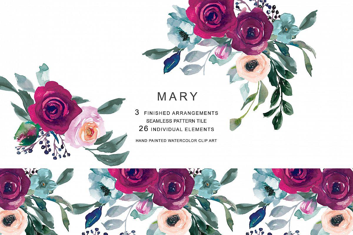 Watercolor Burgundy Pink Flowers Clipar Design Bundles