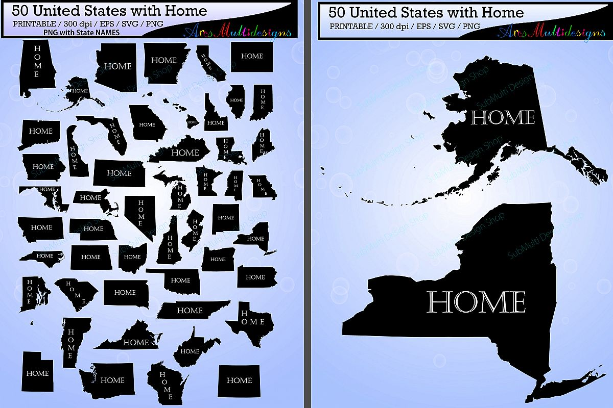 united states map with home vector 50 states with capital map us map silhouette