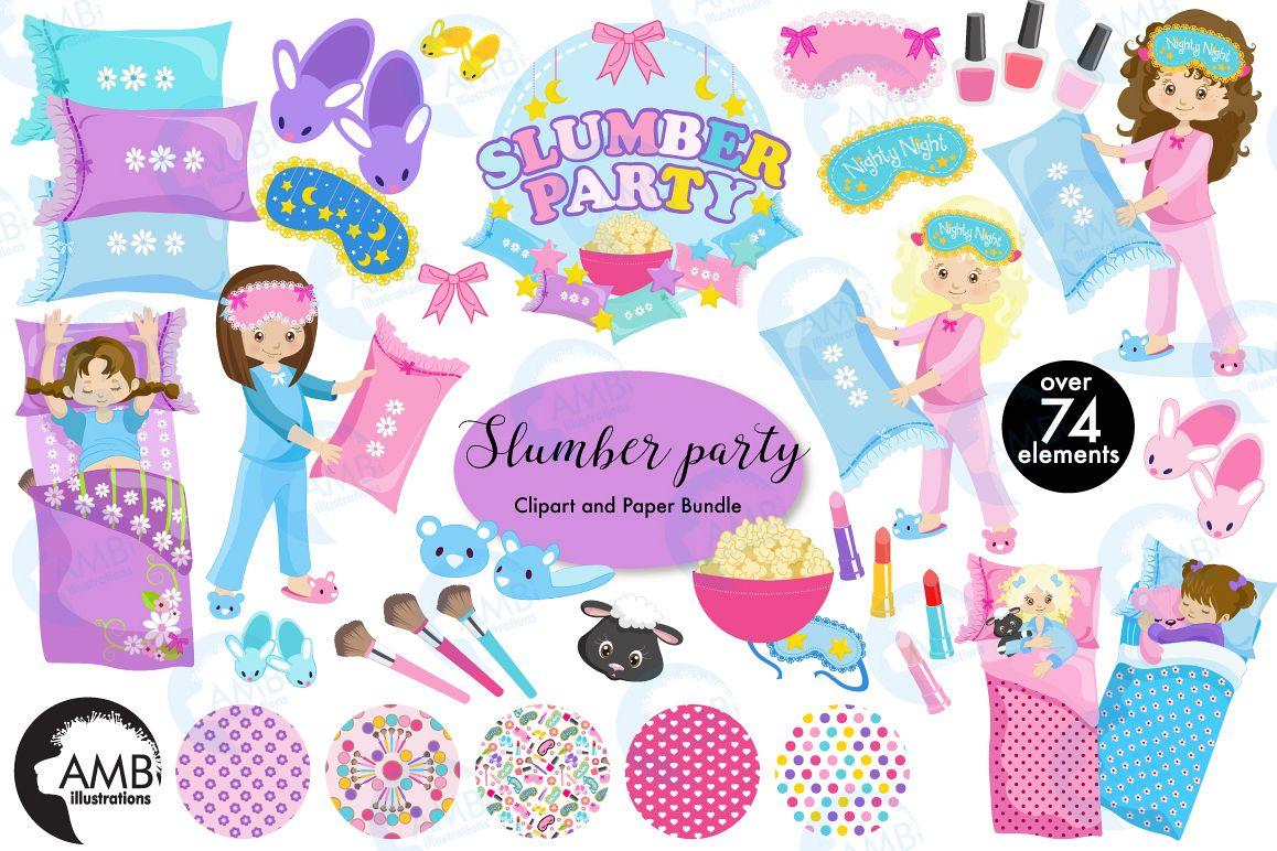 slumber party pyjama party clipart meg design bundles rh designbundles net Pajama Day pyjama party clipart