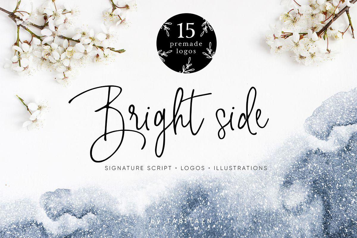Bright side signature script font+ logos example image